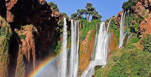 短程旅行Ouzoud的瀑布