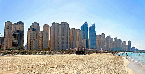 Stranden vid Jumeirah Beach Residence